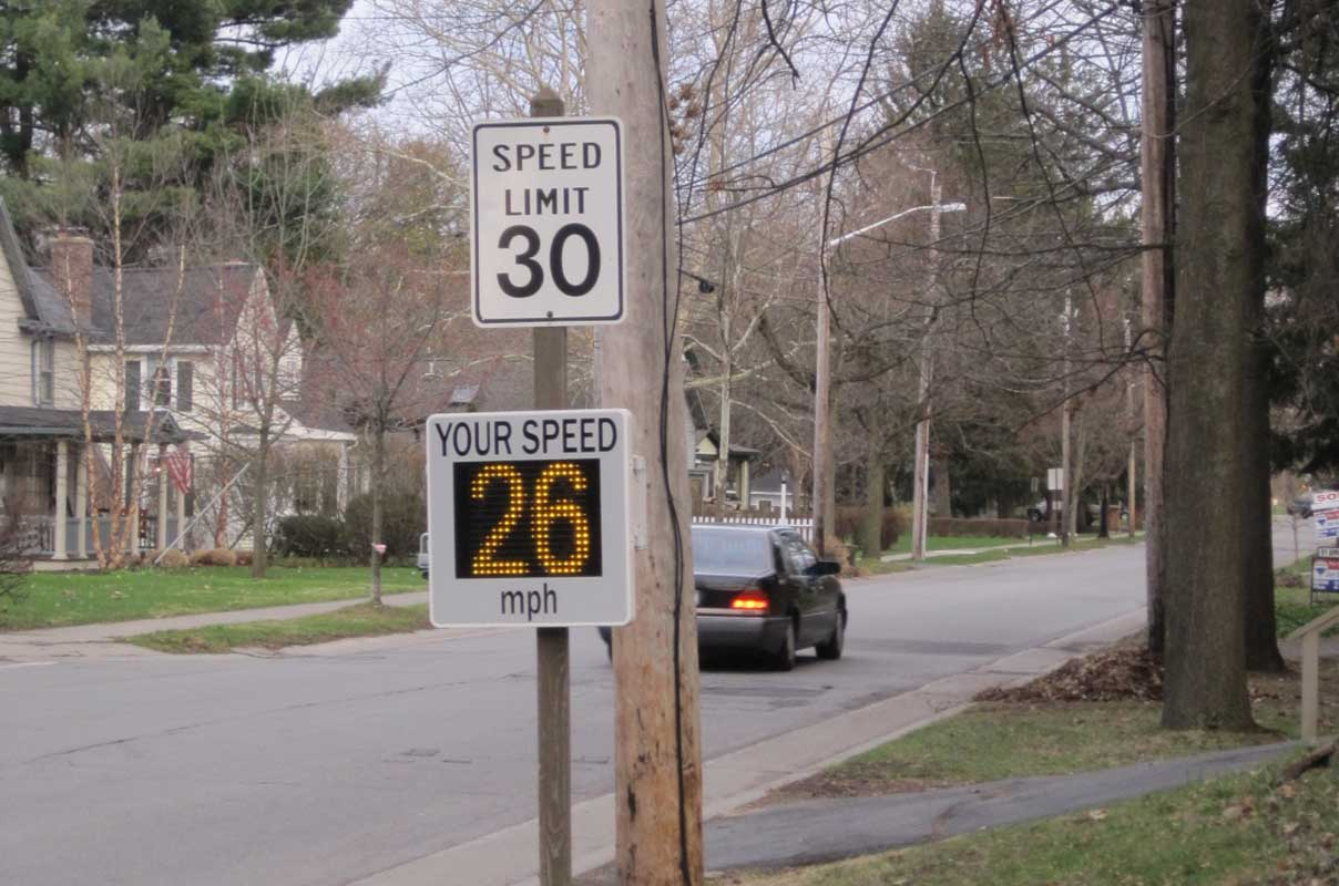 Sierzega GR33L Radar Speed Information Display Traffic Calming Residential Area USA